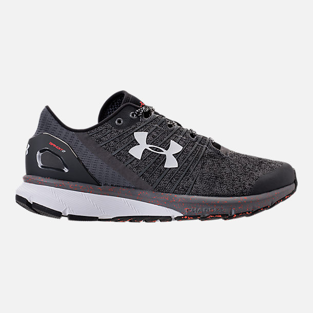 Right view of Men's Under Armour Charged Bandit 2 Running Shoes in Heather Grey/Orange/White