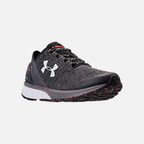 Three Quarter view of Men's Under Armour Charged Bandit 2 Running Shoes in Heather Grey/Orange/White