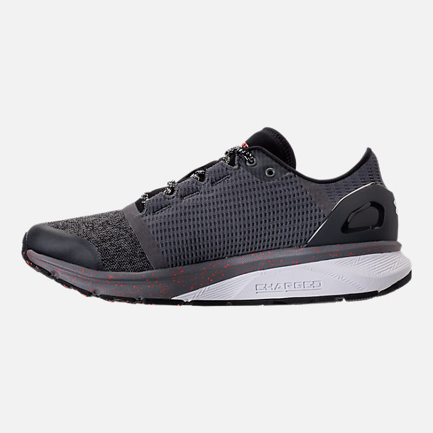 Left view of Men's Under Armour Charged Bandit 2 Running Shoes in Heather Grey/Orange/White