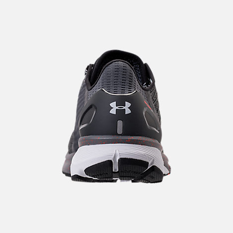 Back view of Men's Under Armour Charged Bandit 2 Running Shoes in Heather Grey/Orange/White