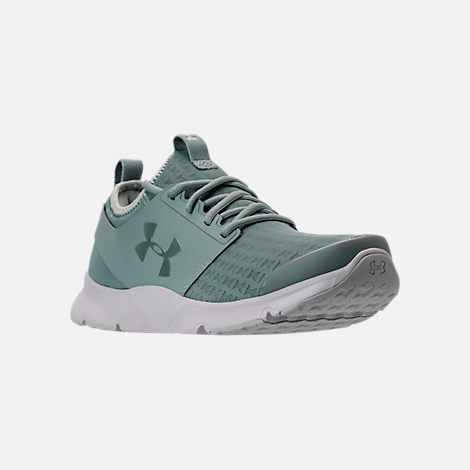 Three Quarter view of Men's Under Armour Drift RN Clutch Running Shoes in Fresco Green/Elemental