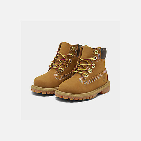 Three Quarter view of Kids' Toddler Timberland 6 Inch Classic Boots in Wheat