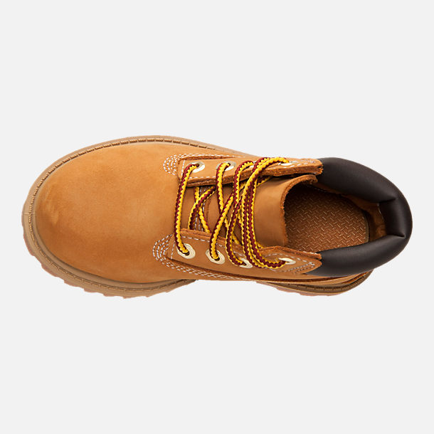 Top view of Kids' Toddler Timberland 6 Inch Classic Boots in Wheat