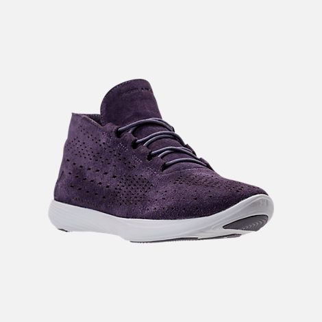 Three Quarter view of Women's Under Armour Street Precision Mid Tinted Casual Shoes in Imperial Purple/Elemental