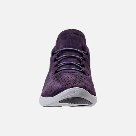 Front view of Women's Under Armour Street Precision Mid Tinted Casual Shoes in Imperial Purple/Elemental