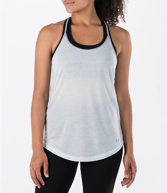 Front view of Women's Under Armour Threadborne Siro Strappy Tank in Blue