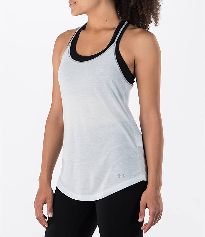 Front Three Quarter view of Women's Under Armour Threadborne Siro Strappy Tank in Blue