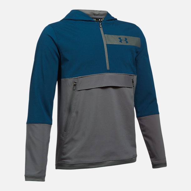 Front view of Boys' Under Armour Woven Breaker Anorak Jacket in Blue/Grey