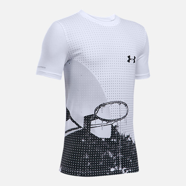 Front view of Boys' Under Armour Photo Real Basketball T-Shirt in White/Grey