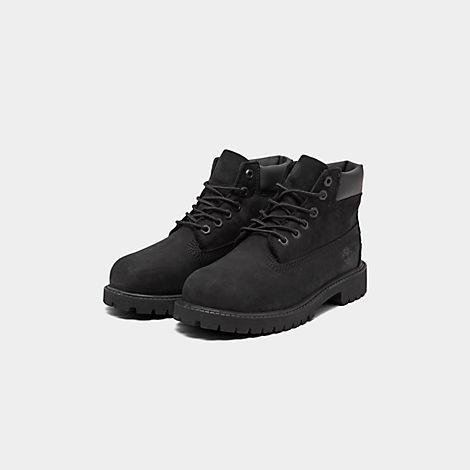Timberland 6 Inch Premium Waterproof Black Nubuck Junior Big Kids Boots 12907