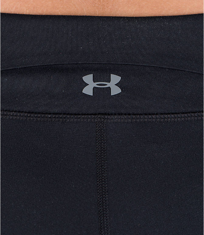Detail 2 view of Women's Under Armour Studio Mirror Printed Crop Training Capris in Black/Orange