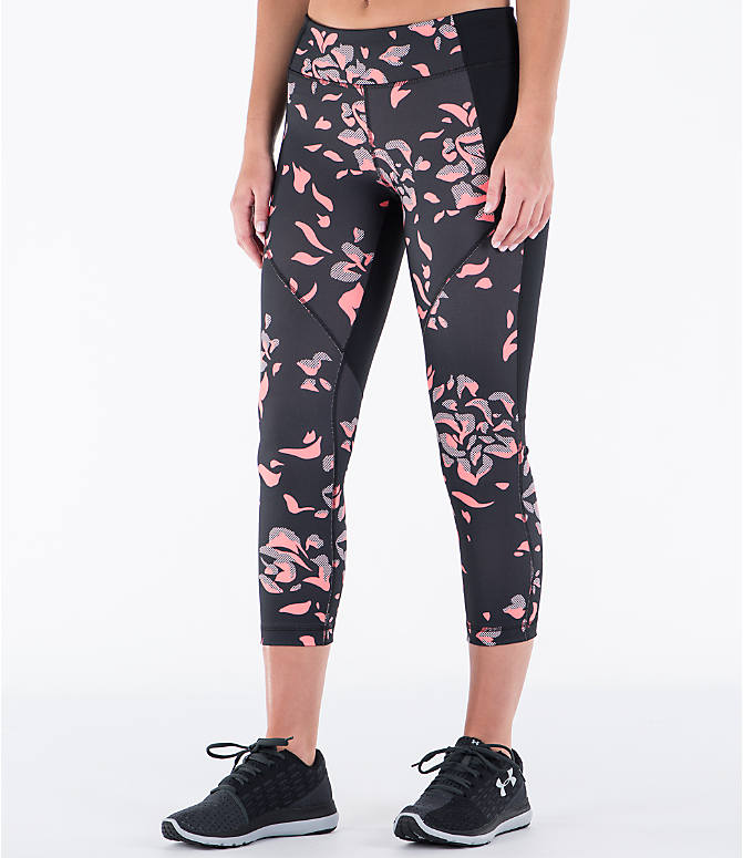 Front Three Quarter view of Women's Under Armour Studio Mirror Printed Crop Training Capris in Black/Orange