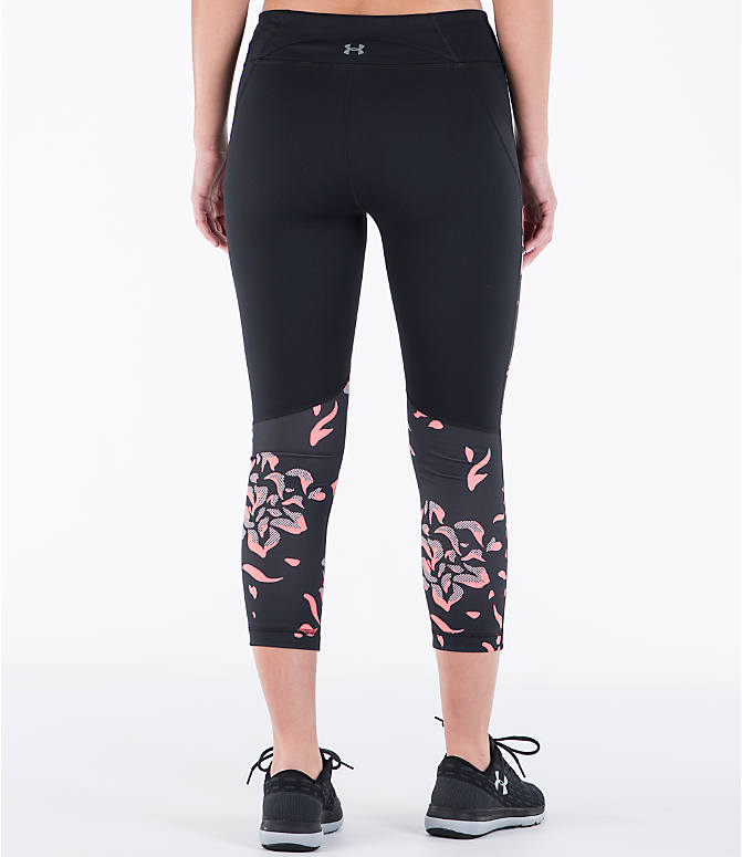 Back Right view of Women's Under Armour Studio Mirror Printed Crop Training Capris in Black/Orange