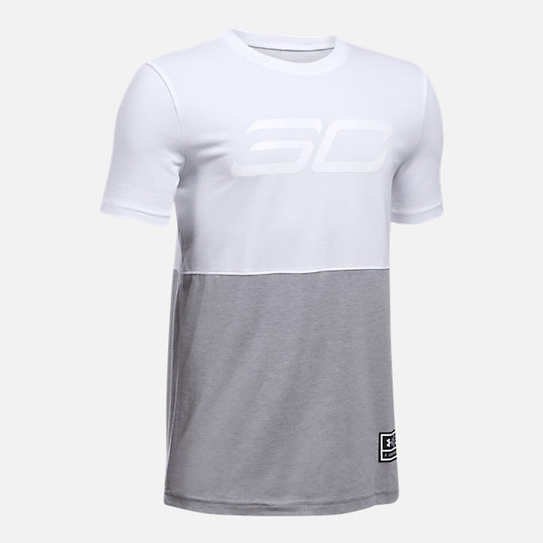 Front view of Boys' Under Armour SC30 Long Line T-Shirt in White/Grey