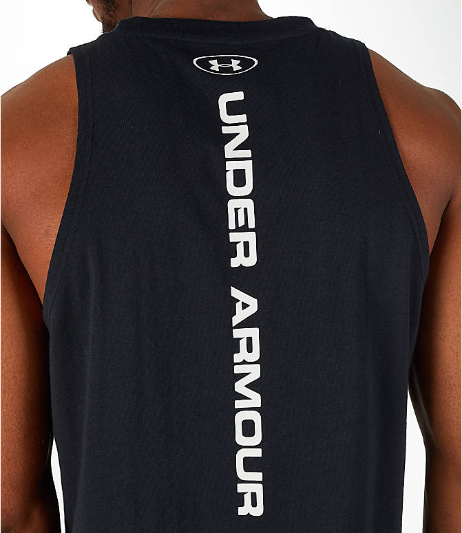 Detail 2 view of Men's Under Armour Baseline Basketball Tank in Black/White