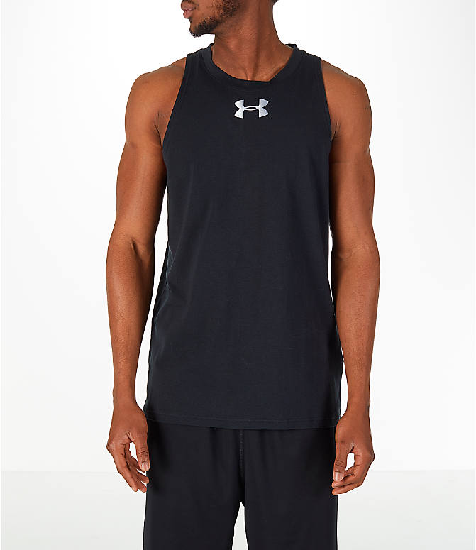 Front view of Men's Under Armour Baseline Basketball Tank in Black/White