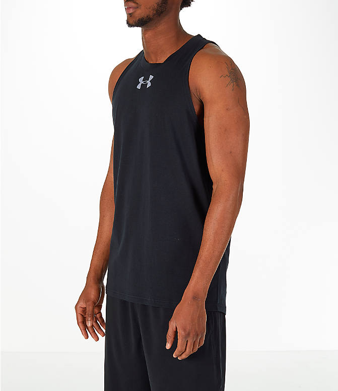 Front Three Quarter view of Men's Under Armour Baseline Basketball Tank in Black/White
