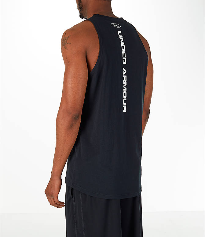 Back Left view of Men's Under Armour Baseline Basketball Tank in Black/White