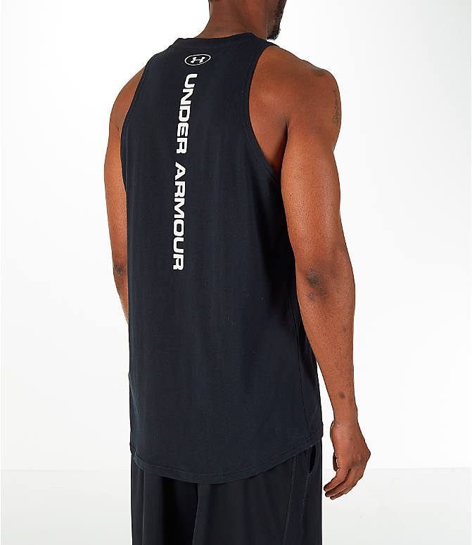 Back Right view of Men's Under Armour Baseline Basketball Tank in Black/White