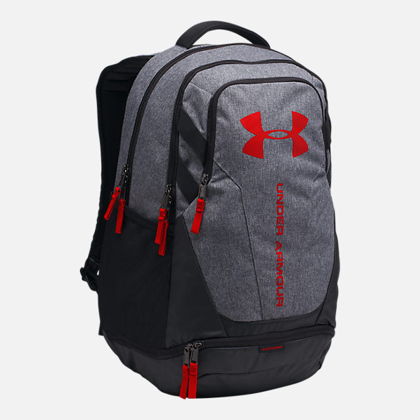 Front view of Under Armour Hustle 3.0 Backpack in Heather Grey/Red