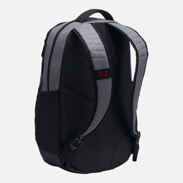 Back view of Under Armour Hustle 3.0 Backpack in Heather Grey/Red