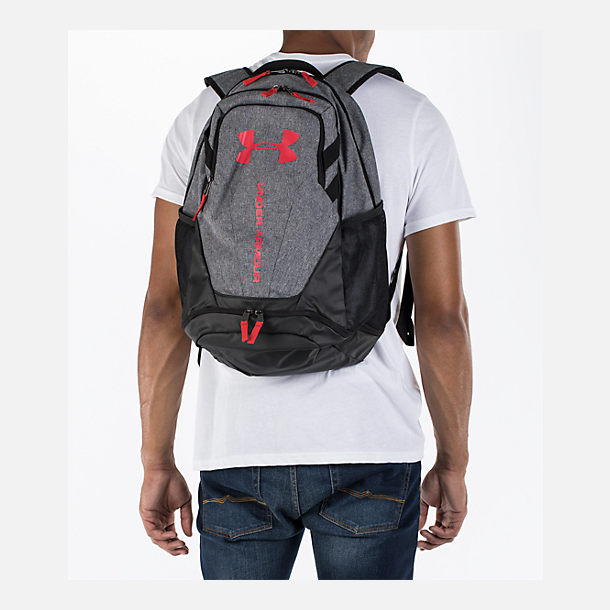 Alternate view of Under Armour Hustle 3.0 Backpack in Heather Grey/Red