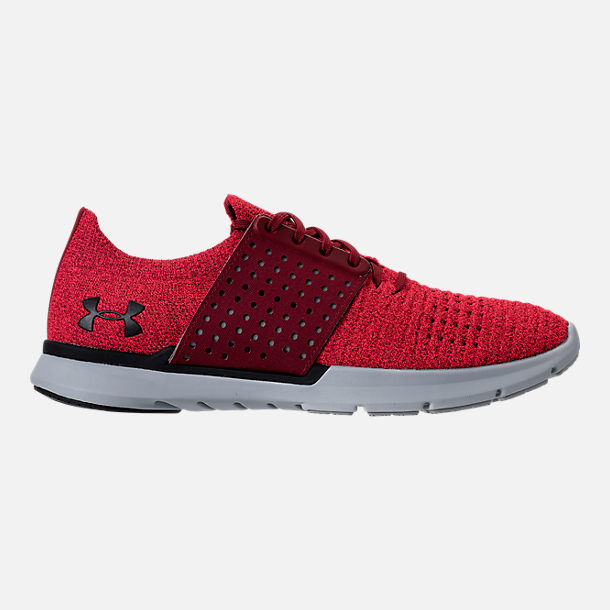 Right view of Men's Under Armour Threadborne Slingwrap Running Shoes in Marathon Red/Overcast Grey/Black