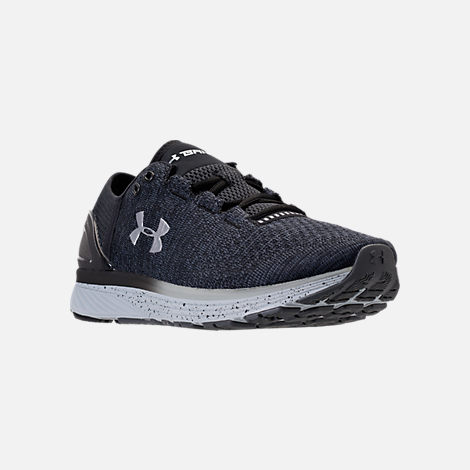 Three Quarter view of Men's Under Armour Charged Bandit 3 Running Shoes in Stealth Grey/Black/Metallic Silver