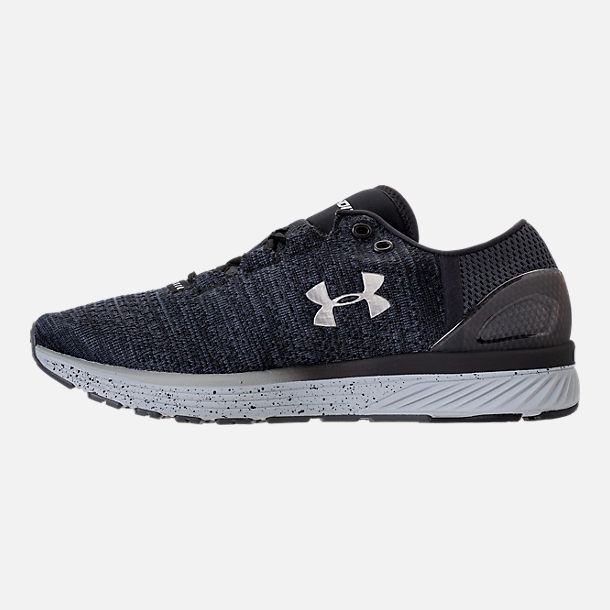 Left view of Men's Under Armour Charged Bandit 3 Running Shoes in Stealth Grey/Black/Metallic Silver