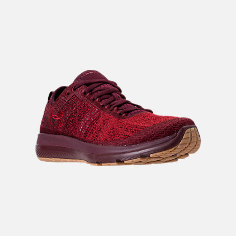 Three Quarter view of Men's Under Armour Threadborne Fortis Running Shoes in Dark Maroon/Cardinal/Spice Red