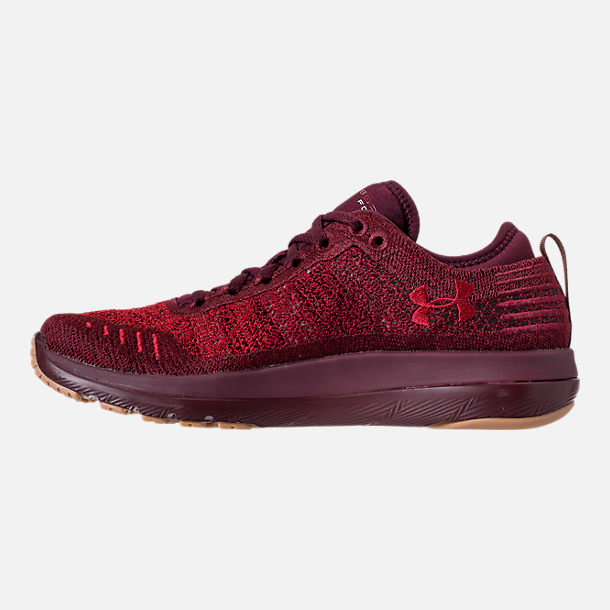 Left view of Men's Under Armour Threadborne Fortis Running Shoes in Dark Maroon/Cardinal/Spice Red