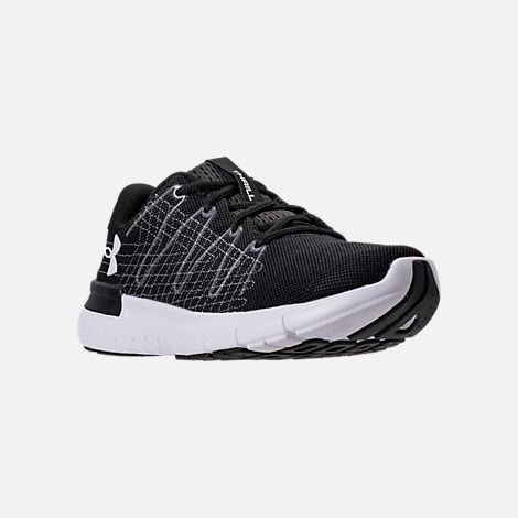 Three Quarter view of Women's Under Armour Thrill 3 Running Shoes in Black/White