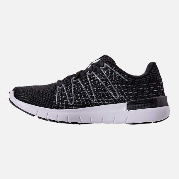 Left view of Women's Under Armour Thrill 3 Running Shoes in Black/White