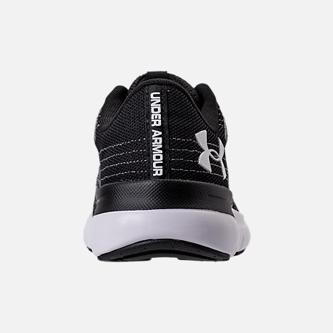 Back view of Women's Under Armour Thrill 3 Running Shoes in Black/White