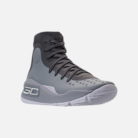 Three Quarter view of Boys' Grade School Under Armour Curry 4 Mid Basketball Shoes in Overcast Grey/Graphite