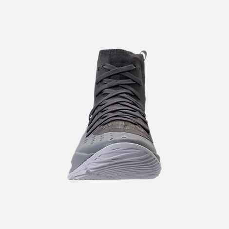 Front view of Boys' Grade School Under Armour Curry 4 Mid Basketball Shoes in Overcast Grey/Graphite