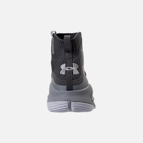 Back view of Boys' Grade School Under Armour Curry 4 Mid Basketball Shoes in Overcast Grey/Graphite