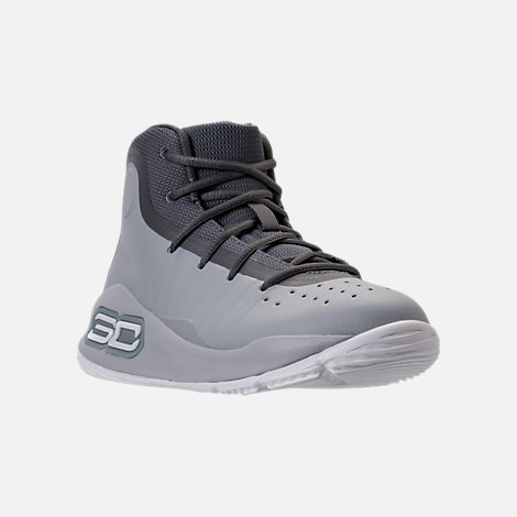 Three Quarter view of Boys' Preschool Under Armour Curry 4 Mid Basketball Shoes in Overcast Grey/Graphite