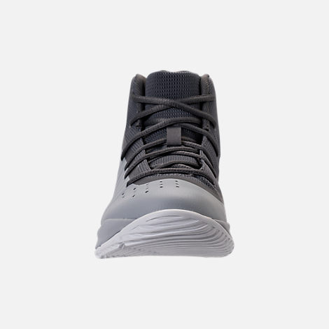 Front view of Boys' Preschool Under Armour Curry 4 Mid Basketball Shoes in Overcast Grey/Graphite