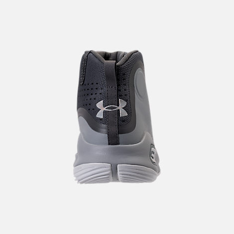 Back view of Boys' Preschool Under Armour Curry 4 Mid Basketball Shoes in Overcast Grey/Graphite