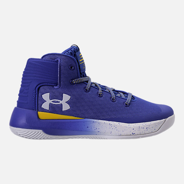 Right view of Boys' Grade School Under Armour Curry 3Zero Basketball Shoes in Team Royal/White