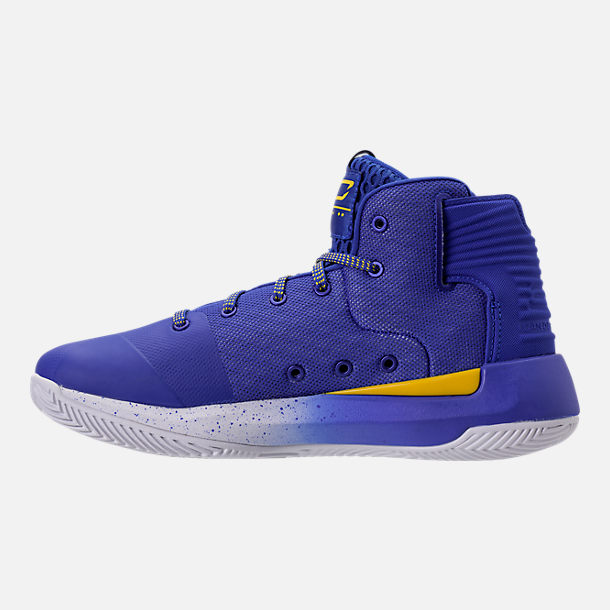 Left view of Boys' Grade School Under Armour Curry 3Zero Basketball Shoes in Team Royal/White