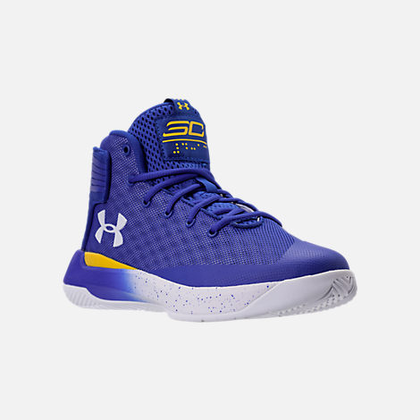 Three Quarter view of Boys' Preschool Under Armour Curry 3Zero Basketball Shoes in Team Royal/White