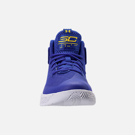 Front view of Boys' Preschool Under Armour Curry 3Zero Basketball Shoes in Team Royal/White