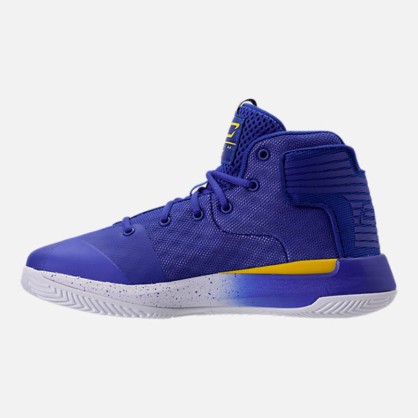 Left view of Boys' Preschool Under Armour Curry 3Zero Basketball Shoes in Team Royal/White