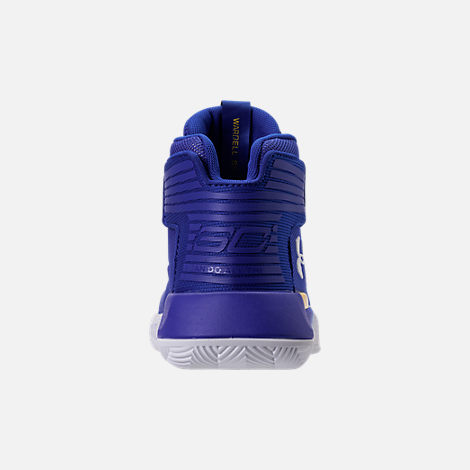 Back view of Boys' Preschool Under Armour Curry 3Zero Basketball Shoes in Team Royal/White