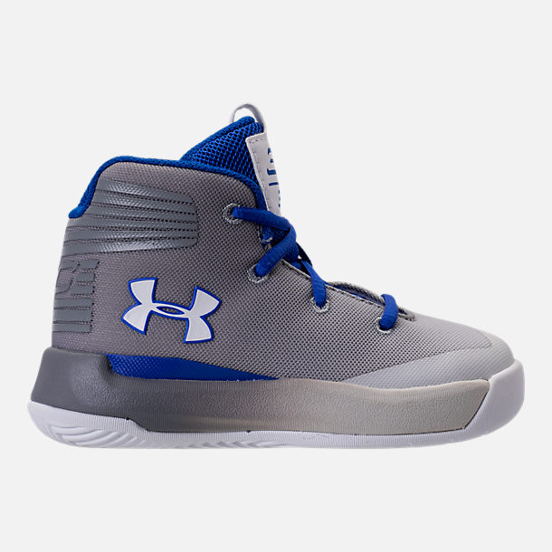 Right view of Boys' Toddler Under Armour Curry 3Zero Basketball Shoes in White/Team Royal