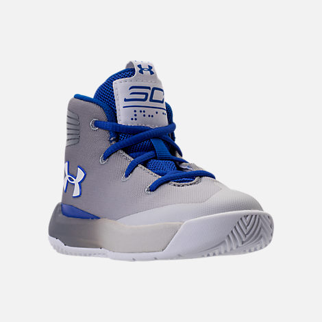 Three Quarter view of Boys' Toddler Under Armour Curry 3Zero Basketball Shoes in White/Team Royal