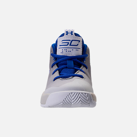 Front view of Boys' Toddler Under Armour Curry 3Zero Basketball Shoes in White/Team Royal