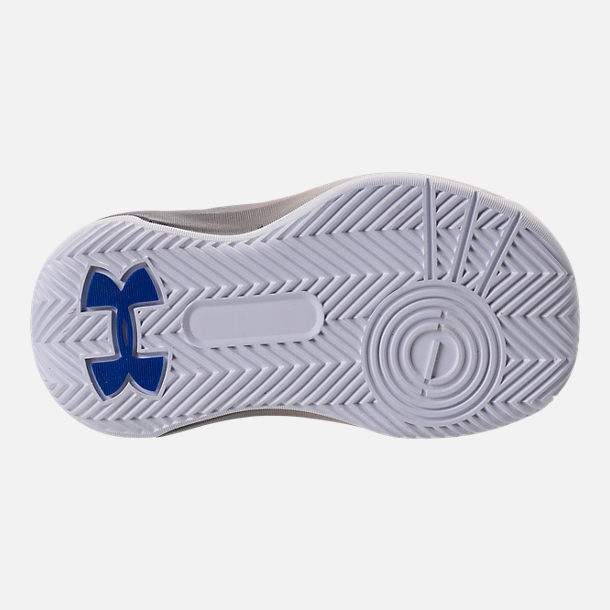 Bottom view of Boys' Toddler Under Armour Curry 3Zero Basketball Shoes in White/Team Royal